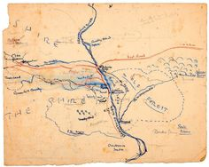 """""""Earliest map of the Shire"""" This map reveals Tolkien's creative process.The blue and red dashed lines show Frodo, Sam, and Pippin's route. Faint pencil marks update place-name changes, and reveal other notes about his Middle-earth still under development. Courtesy of the Bodleian Libraries, University of Oxford"""