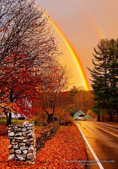 An Autumn Double Rainbow in Quechee, Vermont (maybe we will see this during our anniversary trip this year?)