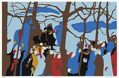 """Jacob Lawrence's """"The Swearing In,"""" a depiction of people at President Jimmy Carter's 1977 inauguration."""