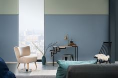 Introducing Dulux Colour of the Year 'Denim Drift' Decorating with Denim Drift's colour palette Dulux has created a palette to complement Denim Drift and integrate into your design palette whether it be furnishings, paint or decor. Denim Drift, Decorating Your Home, Interior Decorating, Half Painted Walls, Toilette Design, Color Of The Year 2017, Contemporary Interior, Interiores Design, Color Trends