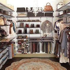 Walnut & Platinum elfa décor Master Walk-In Closet | The Container Store