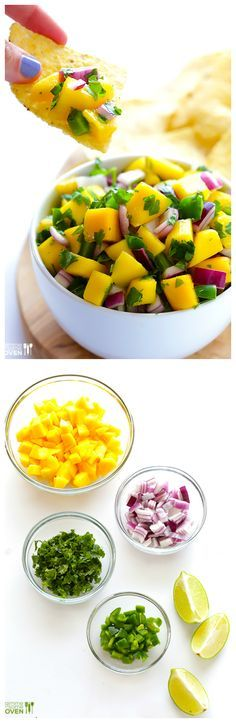 5-Ingredient Mango Salsa -- super easy to make, and SO GOOD! | gimmesomeoven.com