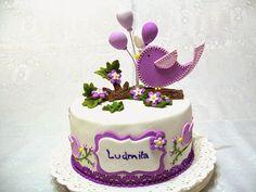 Cute Little Bird & Balloons Birthday Cake