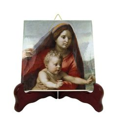 Religious gifts - Virgin of the Stairs - catholic icon on tile handmade in Italy - Madonna della Scala - Andrea Del Sarto - religious icons Catholic Gifts, Catholic Prayers, Catholic Art, Religious Gifts, Holy Mary, Tile Murals, Blessed Virgin Mary, Tile Coasters, Religious Icons