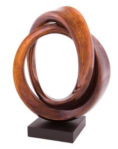 """Cipher""-Free Form Wood Sculpture, Stohans Showcase.  Intriguing contemporary wood sculpture consisting of two open circular forms that are linked together at the top of the design. The bold wooden rings appear like thick ribbons with gracefully sculptured edges that gently twist as the forms intertwine."
