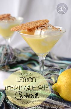 Lemon Meringue Cocktail with Lemon and Oat Lace Cookie