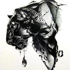 Amazing Black Leopard Tattoo Design