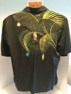 Tori-Richard-Hawaiian-Christmas-Santa-Clause-Ornament-Palm-Tree-Embroidered-EUC