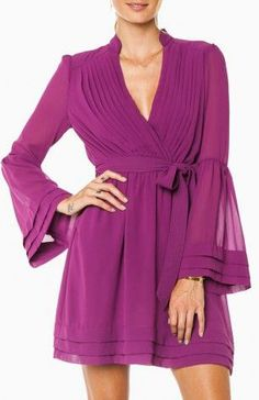 Love this dress color and the beautiful sleeves. Rorey Wrap Dress in Light Plum