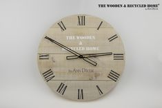 Clock made of old recycled boards. The diameter of the dial is 45 cm. Boards rubbed with paint. How do you like it?