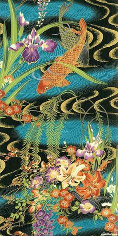 Japanese Patterns, Japanese Fabric, Japanese Design, Japanese Art, Koi Art, Fish Art, Asian Artwork, Oriental Print, Carpe Koi