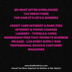 Six income tax deductions most hair stylists and barbers overlook. Pay less tax!