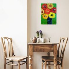 Bright florals art. This will cheer up any room. Floral painting, flower painting. Sunflowers art, abstract florals. Sunflower Art, Painting Edges, Abstract Flowers, Floating Frame, Abstract Styles, Abstract Expressionism, Creative Art, Painted Furniture, Original Paintings