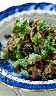 Mom always made a broccoli salad with head   of broccoli, 6 strips bacon, 1/2 cup onion, 1/2 cup raisins, 1 cup mayo, 2 Tbls   sugar, 1-2 Tbls of vinegar. Link goes to a similar recipe.  I like the addition   of 1 cup sunflower seeds, more raisins, and using honey instead of white   sugar.