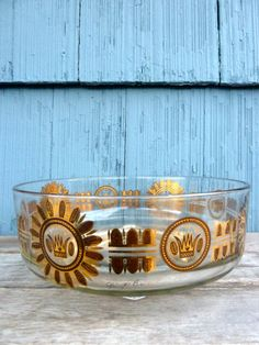Georges Briard glass bowl gold and black crown by OatesGeneral