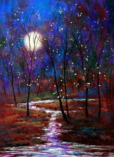 Firefly and Moonlight with rushing stream print by jeanvadalsmith, $28.00