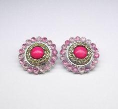 Pink Clip On Earrings Gemstone Earrings, Clip On Earrings, Gypsy, Gemstones, Floral, Pink, Beauty, Ear Jewelry, Florals