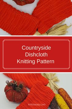 Countryside dishcloth knitting pattern features clean lines produced by alternating garter stitch and stockinette stitch rows.  A very quick Dishcloth Knitting Patterns, Knit Patterns, Cross Stitch Patterns, Crochet Cross, Knit Crochet, Crochet Hats, Knitted Washcloths, Knitted Hats, Pattern Design