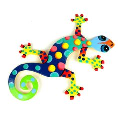 Global Crafts Painted Metal Drum Art Gecko Decorative Wall Hanging