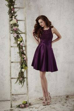 Christina Wu Celebration satin and lace short dress has a keyhole back.  Available in a. Purple Bridesmaid ... 471e5065ac82