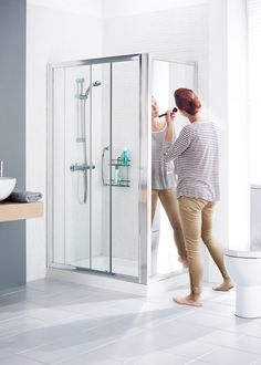 View the Mirror: Side panel and look up a stockist. Choose a shower door that suits the size of your bathroom & add a matching Side Panel for an enclosure. Lake Bathroom, Bathrooms, Corner Shower Enclosures, Light And Space, Shower Doors, Lakes, Locker Storage, Mirror, Collection