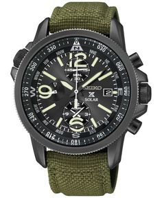 Seiko Men's Prospex Solar Alarm Chronograph Green Nylon Strap Watch 42mm SSC295