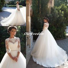 2016 Milla Nova Lace Ball Gown Wedding Dresses Bateau Neckline 3/4 Long Sleeves Pearls Tulle Krista Appliques Bridal Gowns Chapel Train Informal Wedding Dresses Knee Length Wedding Dresses From Ourfreedom, $160.21| Dhgate.Com