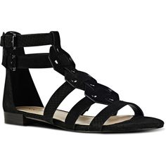 Nine West Irvette Gladiator Sandals ($89) ❤ liked on Polyvore featuring shoes, sandals, flats, black suede, open toe sandals, roman sandals, low gladiator sandals, nine west flats and metallic gladiator sandals
