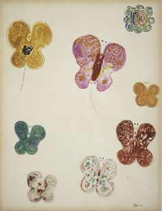 'Butterflies' ( 1910-1914 ). Watercolour by Odilon Redon (1840 - 1916 ). Image and text courtesy Philadelphia Museum of Art.