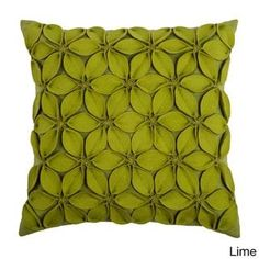 Bring natural appeal into your home with this floral inspired Rizzy Home applique felt leaves throw pillow. Green Throw Pillows, Toss Pillows, Accent Pillows, Lime Green Cushions, Throw Cushions, Smocking Patterns, Smocking Baby, Felt Leaves, Green Leaves
