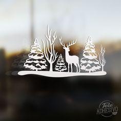 Vinilos Decorativos: Paisaje navideño ciervo y árboles #escaparate #decorar #navidad #vinilo #cristal #nieve #tienda #bar #restaurante #TeleAdhesivo
