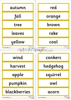 Autumn word cards part of a collection of autumn vocabulary resources A Classroom, Classroom Displays, Activity Village, Owl Pumpkin, Autumn Activities For Kids, Vocabulary Activities, Autumn Crafts, Fall Pictures, Encouragement