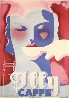 RARE Original 1930s Italian ILLY COFFE Poster XANTI. Part of our November 3, 2013 poster auction.
