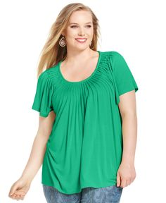 Style&co. Plus Size Short-Sleeve Pleated Top