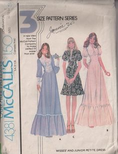 MOMSPatterns Vintage Sewing Patterns - McCall's 4381 Vintage 70's Sewing Pattern CHARMING Modest Victorian Steampunk Look Lace Basque Waist Party Dress, Long Maxi Wedding Gown, Like a Gunne Sax