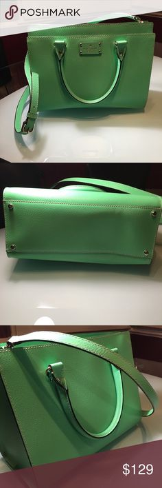 Kate Spade NY Wellesley Durham Covertible Bud green excellent condition one small line on back 14k plate hardware. Very gently used kate spade Bags Totes