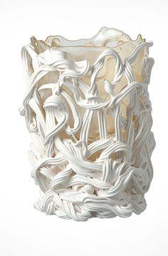 """Spaghetti"" Designed by: Gaetano Pesce for Fish Design Home Decor Vases, White Home Decor, Fish Home, Contemporary Vases, Colored Vases, Modern Furniture Stores, Metal Vase, Fish Design, White Vases"