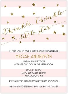 Pink Stripes + Gold Glitter Twinkle, Twinkle Little Star Baby Shower Invitations