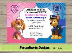 Personalized Paw Patrol Birthday Invitation For Twins Paw patrol