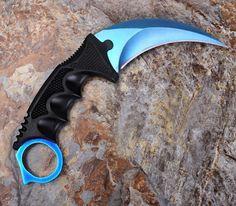 Karambit Doppler Csgo Knife Go Cs Skin Global Counter Strike Combat Knives Blue