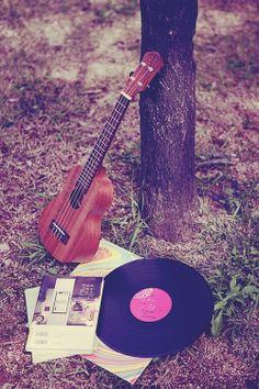 vinyl and ukulele ♫♬♪ ♩♭♪ Kinds Of Music, Music Is Life, My Music, E Piano, Guitar Photography, Photography Ideas, Ukulele Chords, Music Aesthetic, Music Lyrics