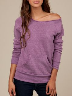 Maniac Sweatshirt - love the off-the shoulder, flashdance/80s look of this. And that purple! #eco