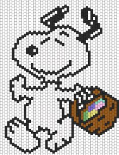 Snoopy As The Easter Beagle bead pattern
