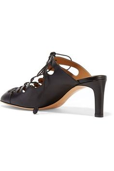 The Row - Dixie Lace-up Leather Mules - Black - IT35