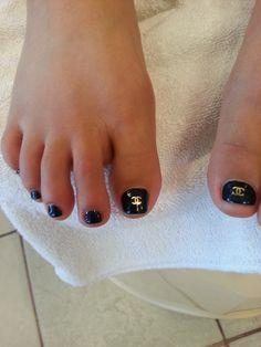 CHANEL Pedicure design. #Chanel, #pedicure, #nail, #beautiful, #nice,
