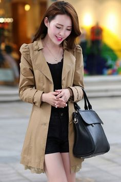 Standout Lace-Trim Pea Coat