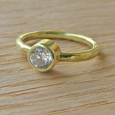 Handmade Rustic Hammered Gold Filled Moissanite Metal Wrapped Solitaire Wedding Ring