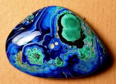 Azurite and Malachite - maybe paint a rock to look like a awesome rock specimen