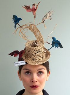 Birds Hat Inspired by Cinderella Story love this whimsical birds hat inspired by the cinderella story. how fun would it be to make this?love this whimsical birds hat inspired by the cinderella story. how fun would it be to make this? Sombreros Fascinator, Fascinator Hats, Fascinators, Headpieces, Costume Carnaval, Hat Day, Crazy Hats, Kentucky Derby Hats, Fancy Hats