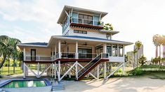 Siesta Key - Coastal Home Plans Coastal House Plans, Beach House Plans, Coastal Homes, Coastal Cottage, Coastal Style, Southern Homes, Coastal Living, Naples Beach, Large Kitchen Island